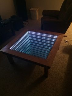 Builds Amazing Infinity Coffee Table For High School Shop Class Infinity Mirror Table, Refurbished Desk, Mirrored Coffee Tables, Shop Class, Side Sleeper Pillow, Glass Ball, Christmas Lights, Wood Projects, Diy Furniture