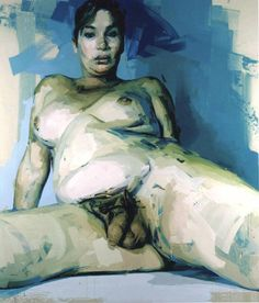 Passage, Jenny Saville, 2004 The painting is of a transvestite with a natural penis and false silicone breasts. Saville liked the idea of painting someone with a floating gender that is not fixed, she said she was looking for a contemporary architecture of the body. She looked to 'paint a visual passage through gender - a sort of gender landscape'. Saville has painted from this viewpoint for a reason, so the audience get a view of the penis, then to the breasts, and finally to the face.