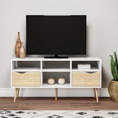 Tv stand with shelves and drawers white 4 shelf 2 drawer stand . tv stand with shelves and drawers 2 Drawer Tv Stand, Tv Stand Shelves, Living Room Tv, Living Room Modern, Living Room Furniture, Kitchen Furniture, Kristiansund, Scandinavian Bookshelves, White Tv Stands