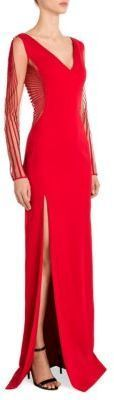 Versace Sheer Sleeve Cady V-Neck Gown