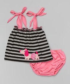 Look at this #zulilyfind! Black Stripe Dachshund Tank & Diaper Cover - Infant & Toddler by Victoria Kids #zulilyfinds