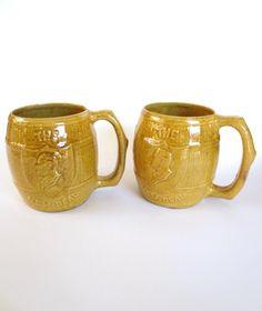 1930s The New Deal mug, ceramic beer barrel mug pair, FDR Franklin D. Roosevelt prohibition beer barrel mug, 16 ounces, Jackpot Jen vintage by JackpotJen on Etsy