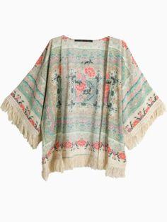 Floral Tassel Kimono