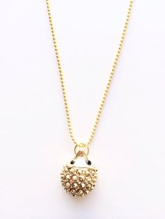 """Gold Spiked Hedgehog Pendant Necklace on 30"""" Gold Chain - Autumn & Nature Inspired, Woodland Creature - Gift for Her, Valentine's Day by niloulu, $25.00"""