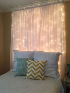 Our Window Curtain Lights are a bestseller at Tapestry Girls. These curtain lights go perfectly in any room and give just the right amount of illumination, ambience and glow to your space! My New Room, My Room, Dorm Room, College Dorm Decorations, Diy Headboards, Headboard Ideas, Bedroom Ideas, Curtain Headboards, Diy Bedroom