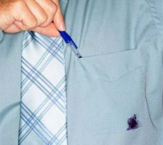 Tip #1: How to use hand sanitizer to get ink off your clothing If you find yourself with ballpoint pen ink on your shirt, just cover it completely with hand sanitizer and blot with a clean cloth or paper towel. Keep repeating until the stain is removed. Here's why it works. The hand sanitizer is made of mostly alcohol so it breaks down the ink.