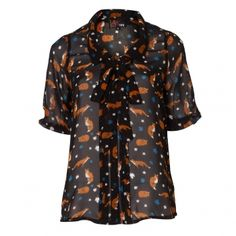 Fox print blouse- adorbs!