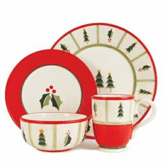 Casual Christmas Dinnerware Set features Christmas trees and holly on a creamy white background with bright red trim  This set features 4 pieces each - dinner plate, salad plate, soup/cereal bowl and mug.  Made of Stoneware - Dishwasher & Microwave Safe