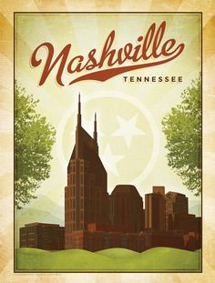 tennesse, favorit, art, nashville, music citi, travel posters, place, vintage inspired, thing