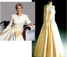 One of her divine dresses sold at auction. Designed by Catherine Walker. Ivory satin with a bodice adorned with simulated pink pearls, glass beads and sequins. Diana wore this gown, for a formal portrait and private functions within the palace.