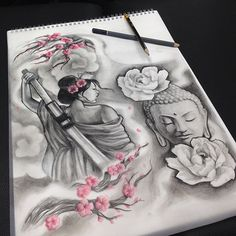 【leahgaytontattoos】さんのInstagramをピンしています。 《Half sleeve design. #CANTWAIT !! #warrior #geisha #buddha #japanese #asian #cherryblossoms #blackandgrey #tattoodesign #instaddict #artnerd #artgeek #drawing》