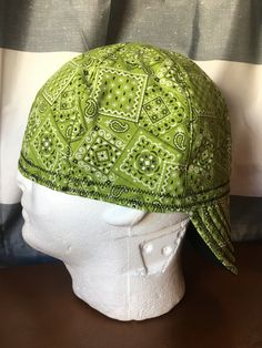 GREEN BACK GROUND WELDING CAP WITH  BANDANA DESIGN  WITH FABRIC
