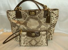 NWOT Coach Madison Python Print Tote & Wallet!. Starting at $25 on Tophatter.com!