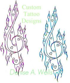 Treble Clef Tattoo Designs by Denise A. Wells by ♥Denise A. Wells♥, via Flickr