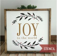 DIY farmhouse christmas sign using a stencil! Christmas Stencils, Christmas Vinyl, Pallet Christmas, Christmas Signs Wood, Christmas Door Decorations, Christmas Centerpieces, Christmas Wreaths, Christmas Crafts, Christmas Ideas