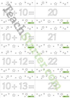 10 to 30 Two-Digit Addition Flashcards – Stars BW (Horizontal) Teaching Resource Teaching Math, Teaching Resources, Addition Flashcards, Diy Projects For Beginners, New Hobbies, Modern Design, Stars, Pre School, Outdoor Gardens