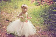 Newborn Size 9 Ivory and Pink Flower Girl Tutu by krystalhylton