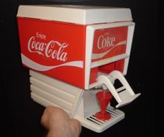 Vintage 1960's Coca Cola Toy Soda Fountain.  Really works, uses a small bottle of Coke that tips up when lever is pushed and fills your cup.