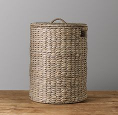 "Seagrass Hamper - Ash - 17"" D"