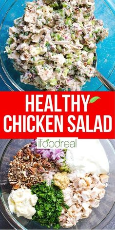 Easy and low fat Healthy Chicken Salad that is a must for hot summer days lunches and quick dinner. Its also low in calories and sodium but big on flavor. Heart Healthy Recipes, Healthy Salad Recipes, Healthy Meal Prep, Healthy Cooking, Healthy Eating, Healthy Quick Dinners, Healthy Chicken Salad Recipe Easy, Low Fat Cooking, Vegetarian Salad
