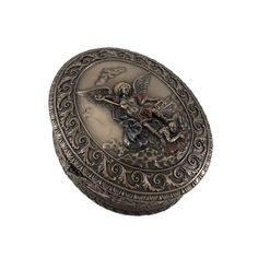 Ornate Bronze St Michael Bas Relief Oval Trinket Box * Find out more about the great product at the image link.