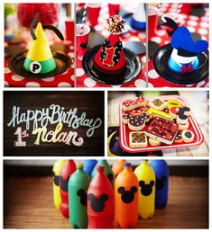 Mickey Mouse themed 1st birthday party Full of Really Cute Ideas via Kara's Party Ideas | Cake, decor, printbales, favors, cupcakes, games, ...