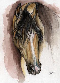 Horse Painting - Palomino Arabian Horse Watercolor Portrait by Angel Ciesniarska Watercolor Portrait Painting, Watercolor Horse, Watercolour, Watercolor Ideas, Horse Artwork, Horse Paintings, Horse Water, Horse Portrait, Palomino
