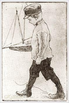 1907. Carl Larsson (Swedish, 1853 - 1919) «Esbjorn with Selgelboot»