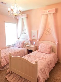 Shared girls room - Nursery BED teester Princess Bedroom Crib canopy Girls Bedroom Decor Shabby Chic cornice FULL Twin Q Cute Bedroom Ideas, Girl Bedroom Designs, Room Ideas Bedroom, Small Room Bedroom, Bedroom Decor, Small Rooms, Girls Pink Bedroom Ideas, Bedroom Furniture, Twin Room