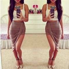 This skirt is very beautiful, elegant and classy. With its unique style of hi and low asymmetric hem make this skirt fashionable. Made from high quality spandex. Best paired with crop tops or any blou