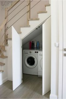 Small Staircase, Staircase Storage, Stair Storage, Staircase Design, Spiral Staircases, Storage Under Stairs, Small Laundry Space, Hidden Laundry, Small Spaces