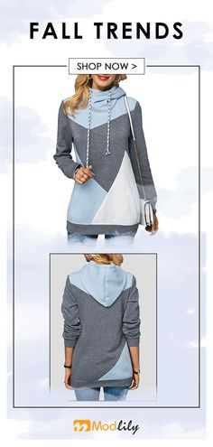 aee7e8fa3369b Color Block Long Sleeve Pocket Drawstring Hoodie