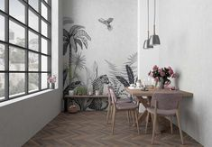Our art wall mural features palms, tropical leaves and leopard in black and white. A unique work of art transforming your home into a tropical paradise. Wall Murals, Wall Art, Tropical Paradise, Tropical Leaves, Pattern Wallpaper, Wall Sticker, Future House, Gallery Wall, Wallpapers