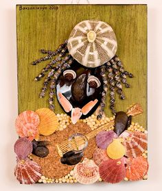"""Caribbean summer"" seashell contemporary mosaic on the wood plate."