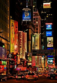 NYC. Manhattan. Times Square at night ~ http://VIPsAccess.com/luxury-hotels-new-york.html