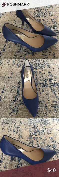 """Michael Kors Flex Blue Heels 3 1/2"""" heel  Leather upper/synthetic lining and sole Imported Michael Kors Shoes Heels"""