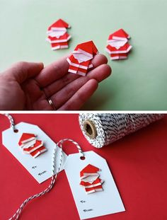 Make Origami Santas for Gift Tags and Ornaments | Click for 28 Easy DIY Christmas Decor Ideas on a Budget | Handmade Christmas Decorations Ideas