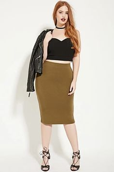 Plus Size Knit Pencil Skirt | Forever 21 PLUS #forever21plus