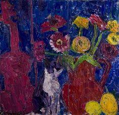 Virgiliu Parghel, Natura-cu-flori-si-vioara-2014-up-poliptic---2x29-33+2x39-33 Up, Painting, Painting Art, Paintings, Painted Canvas, Drawings