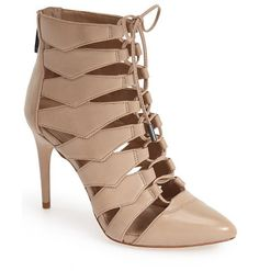 ma-bren lace-up bootie by BCBGMAXAZRIA. A slender lace snakes up the front of a stunning almond-toe bootie crafted from supple nappa leat...