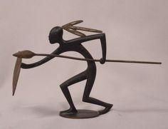 Hagenauer-Austrian-Art-Deco-Bronze-Of-An-African-Warrior