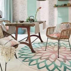 esprit-kurzflor-teppich-rund-lotus-flower-beige-grun-flieder/ - The world's most private search engine Interior Design Living Room, Living Room Designs, Living Room Decor, Bedroom Decor, Lotus Bleu, Circular Rugs, Diy Home Decor For Apartments, Style Oriental, Small Room Bedroom