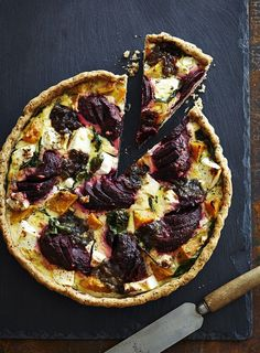 Beetroot, Feta and Sweet Potato Tart with Spelt and Sour Cream Pastry
