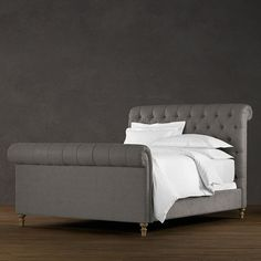 Chesterfield Upholstered Sleigh Bed - A beautiful, tufted sleigh bed in rich, gray, vintage velvet linen is so my style!