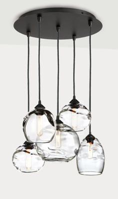 Room & Board | Modern Glow Mixed Pendant Lights with Round Ceiling Plate - Set of Five in Glass