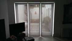 Sunscreen roller blinds for French doors Modern Net Curtains, Modern Blinds, Blinds Inspiration, Blinds For French Doors, Made To Measure Blinds, Living Room Blinds, Brighton And Hove, Roller Blinds, Sunscreen