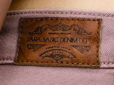 etiqueta de cintura zara basic denim dept.