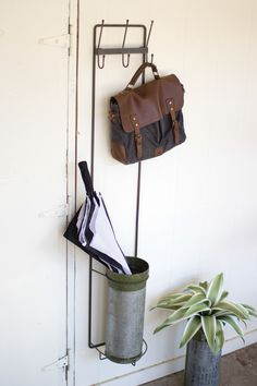 Kalalou Metal Wall Coat Rack & Umbrella Stand With Military Canister