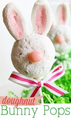 Doughnut Bunny Pops - How cute are these? Made in a flash with store-bought powdered mini doughnuts!