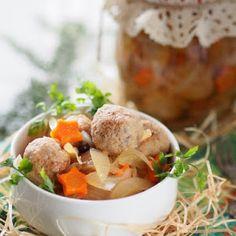Marynowane klopsiki mięsno-grzybowe z cebulą Tortellini, Food And Drink, Beef, Chicken, Impreza, Canning, Meat, Steak, Cubs
